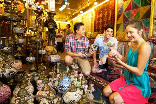 Tourists at the handicraft shop in Singapore's Chinatown
