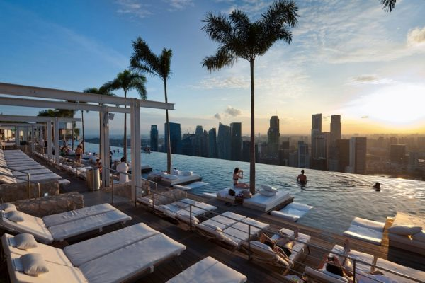 Witness the sunset from the infinity pool of Marina Bay Sands
