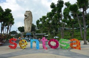 Merlion statue located at the entrance of Sentosa Island