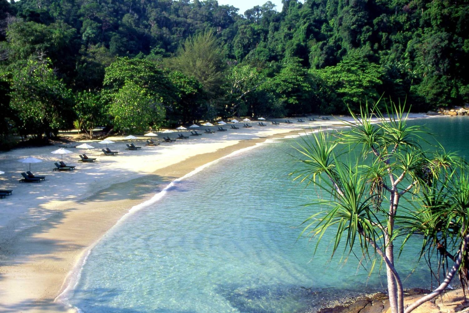 Panoramic view of Emerald Bay Beach at Pangkor Laut Malaysia