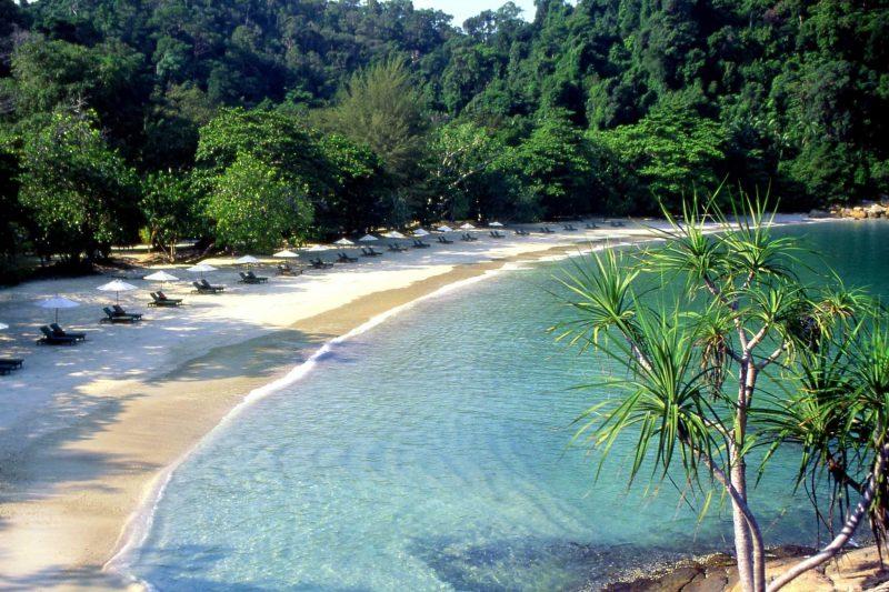 Panoramic view of Emerald Bay Beach at Pangkor Laut Malaysia