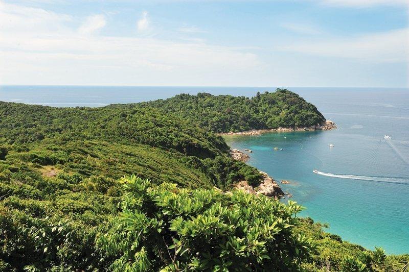 Aerial view of Perhential Kecil coastline