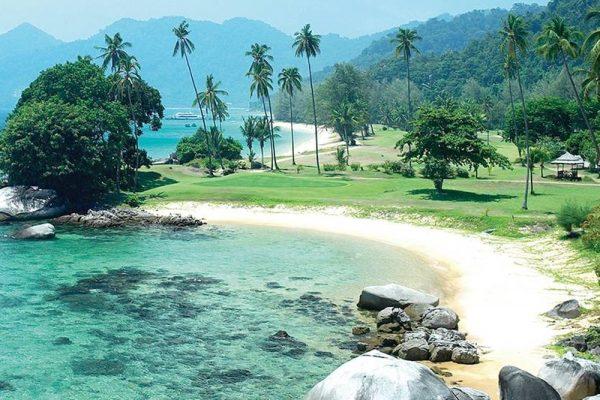 Stunning beach with crystal-clear sea in Tioman Island