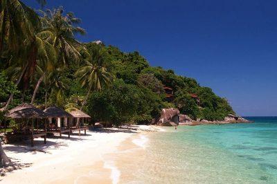 Pristine beach and turquoise sea in Tioman Island