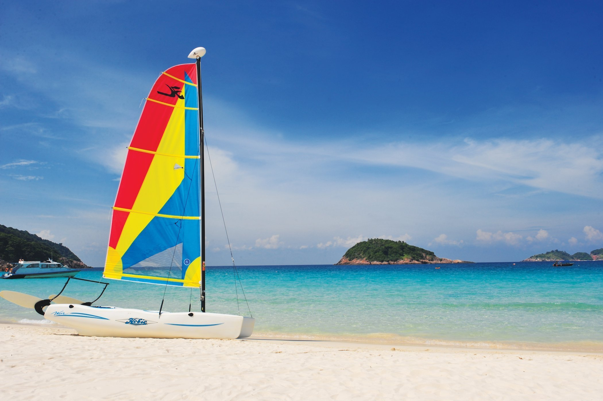 Perfect turquoise sea and white-sand in Redang Island' s Long Beach