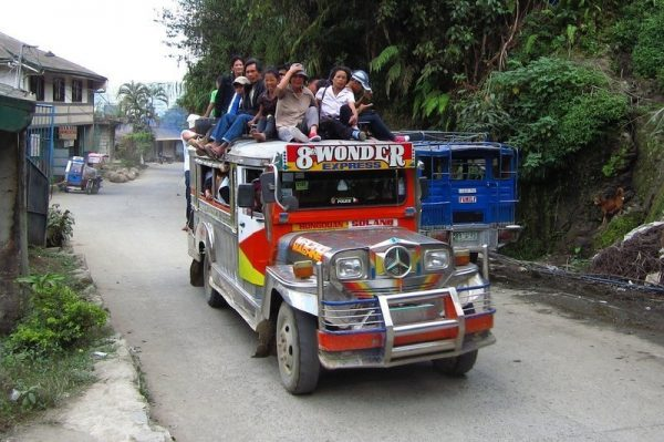 Local Filipino people on a jeepney in Luzon Philippines