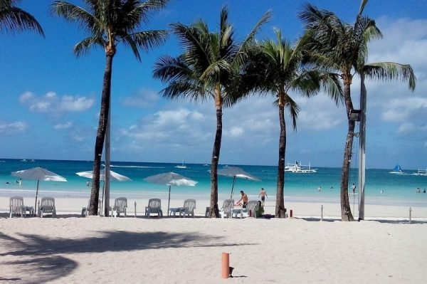 Perfect White Sandy Beach And Turquoise Sea in Boracay Island