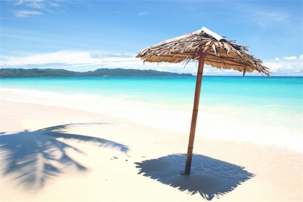 Beach umbrella on Boracay's White Beach