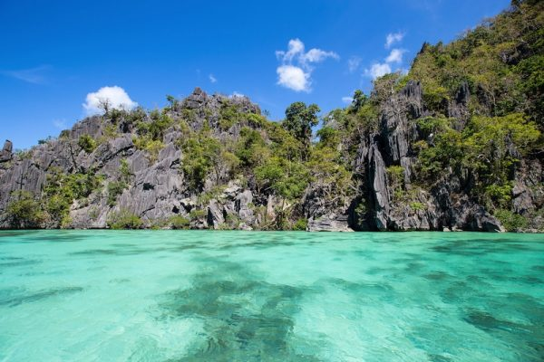 Beautiful emerald-colored lagoon in Palawan