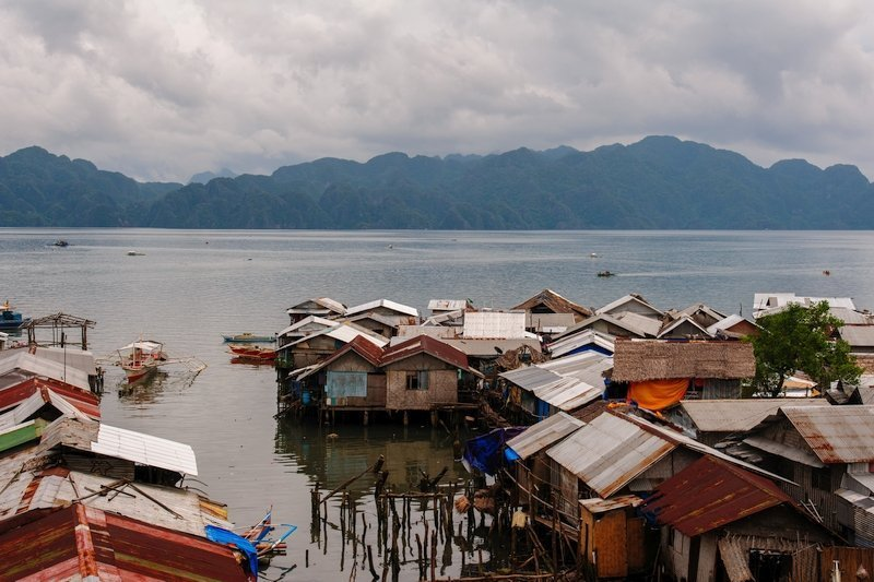 Panoramic view of the water village in Coron town