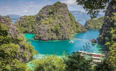 Panoramic view of the Blue Lagoon in Coron Island