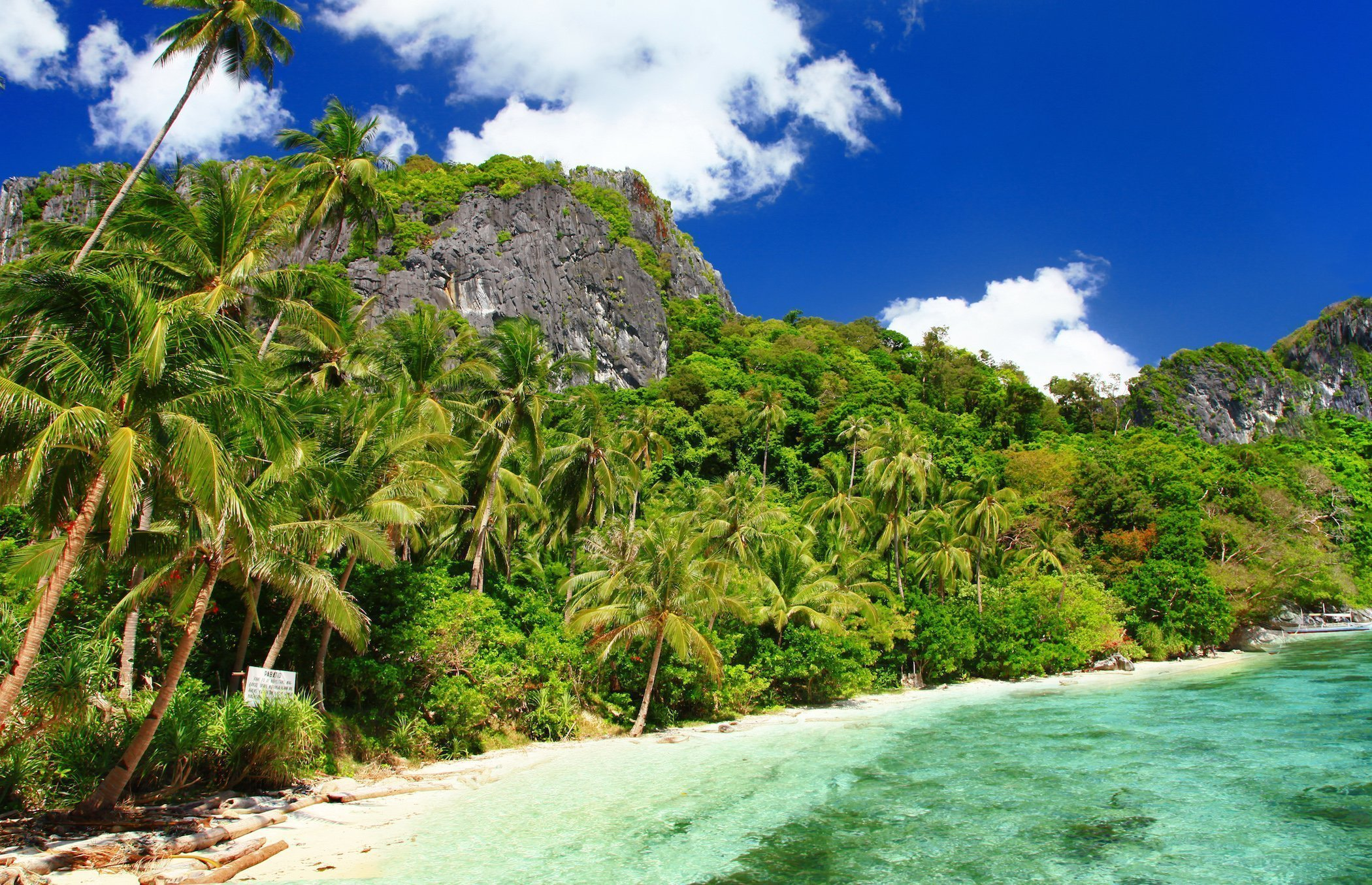 Panoramic view of a secluded beach in El Nido