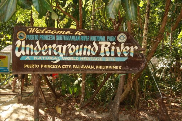 Welcome signage at the entrance of the Underground River