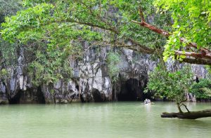Cave entrance of the Puerto Princesa' Subterranean River opens directly onto a stunning lagoon