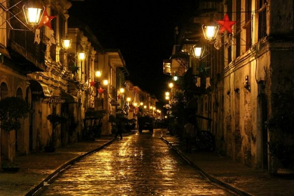 A night scenery of a captivating old cobbled street in the historical town of Vigan