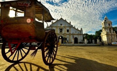 Horse drawn carriage in front of the Historical Church in Vigan city