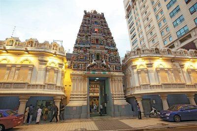 Hindu Temple between modern buildings in Kuala Lumpur