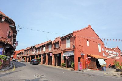 Heritage red buildings in Malacca