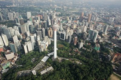 Aerial view of Kuala Lumpur City Centre and KL Tower