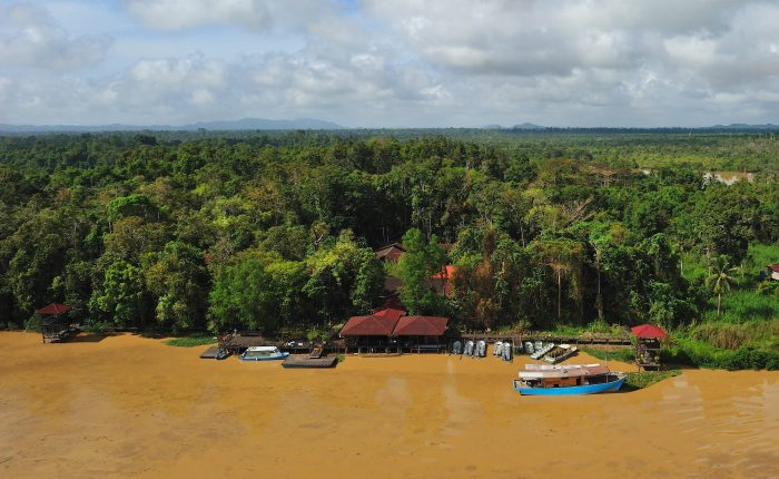Aerial view of Abai Jungle Longe along the Kinabatangan River