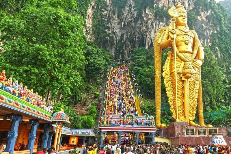 Thousands of devotees celebrating the Thaipusam Festival at the Batu Caves