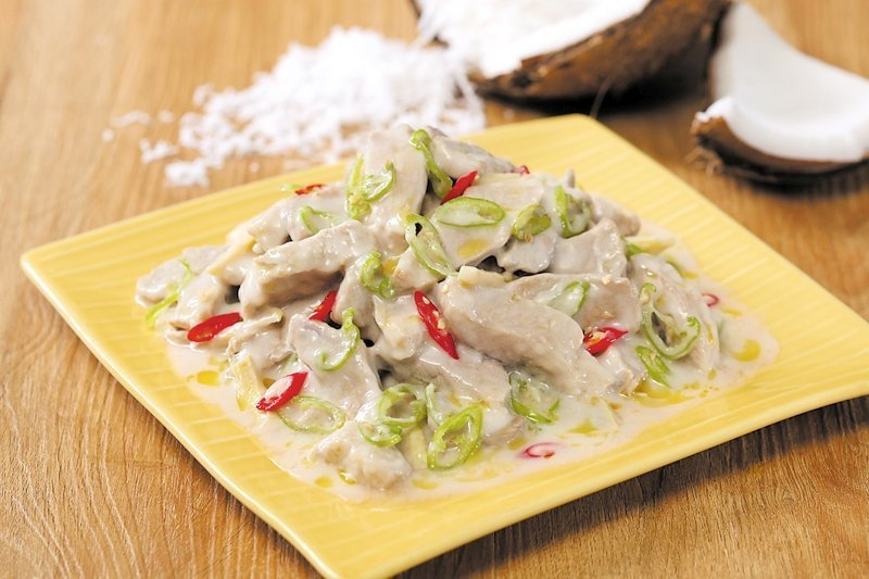 A plate of Bicol Express, a traditional recipes from Bicol region