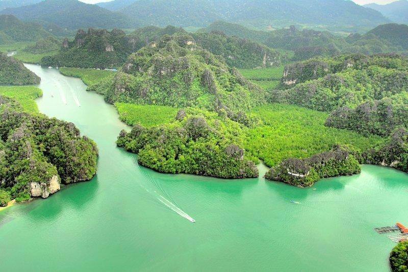 Aerial view of Langkawi's Kilim Geoforest Park