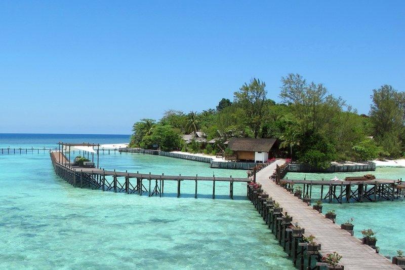 Elevated walkways and turquoise lagoon of Lankayan Island