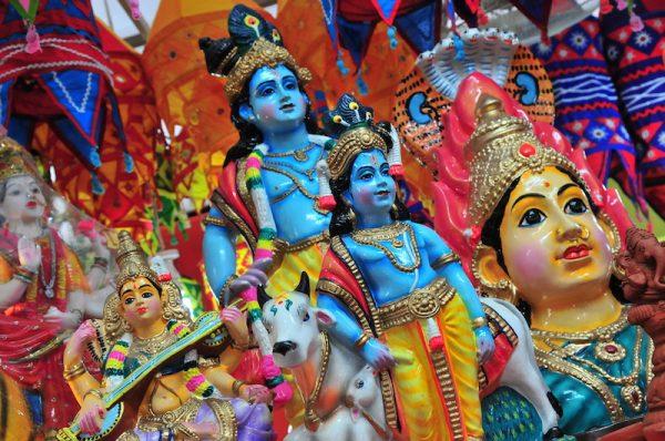 Statues of Hindu deities in Singapore's Little India