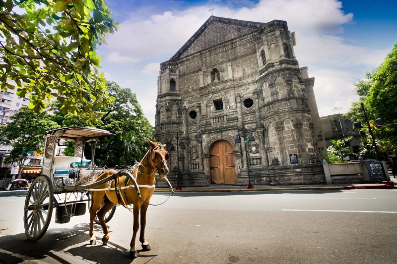 Horse Drawn Carriage Parking In Front Of Malate Church
