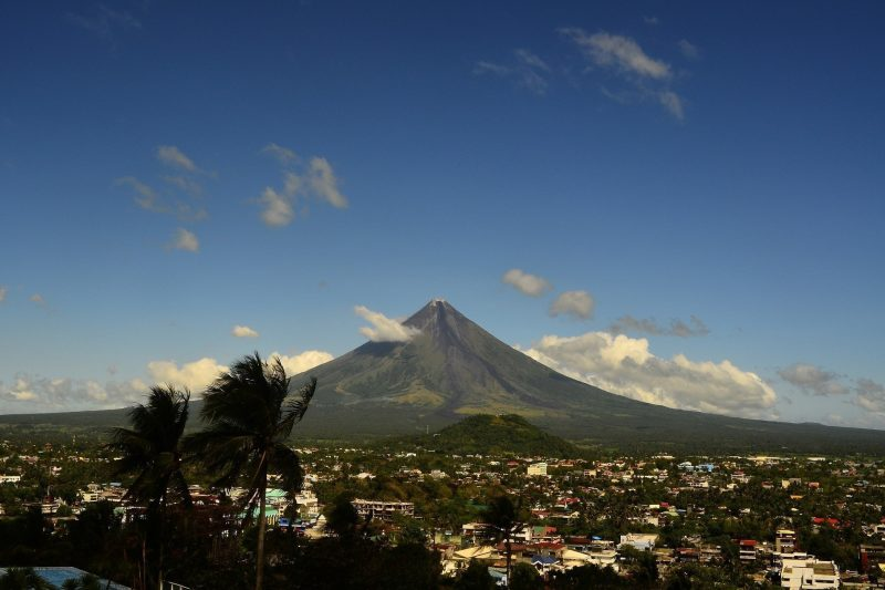 View of Lagazpi city surmounted by the majestic Mayon Volcano