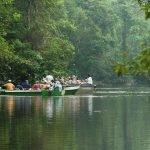 Tourists exploring Menanggol River in search of wildlife