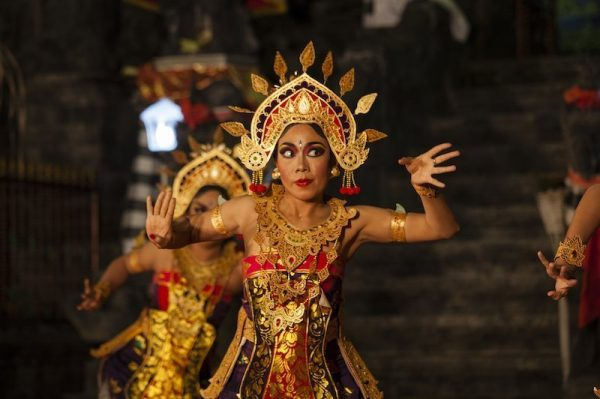 A balinese girl performing a traditional Balinese Dance