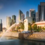Panoramic view of Singapore's Merlion park and skyscrapers of the business district