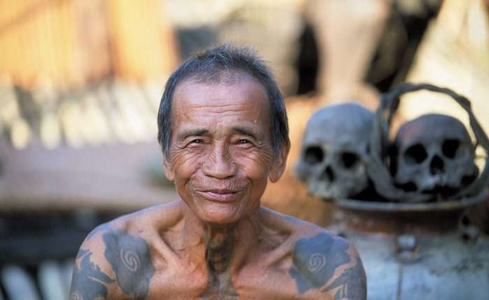 A Iban Headhunter at the Longhouse in Sarawak Borneo