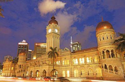 Night scenery of the Sultan Abdul Samad Building in Kuala Lumpur