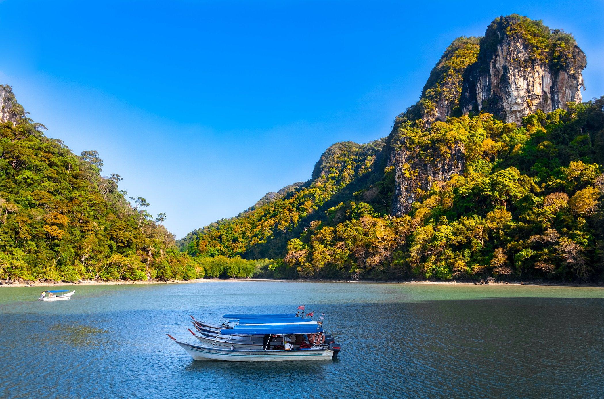 Tourist boat exploring Langkawi geopark