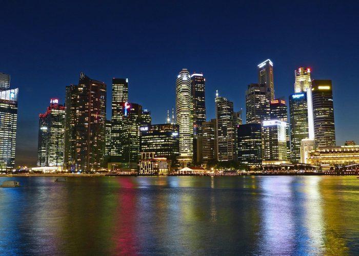 Singapore skyline views at night