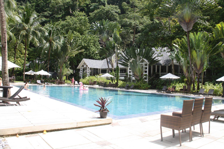Swimming pool at the Lagen Island, El Nido Resorts, Palawan, Philippines