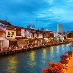 Night scenery of Malacca riverside