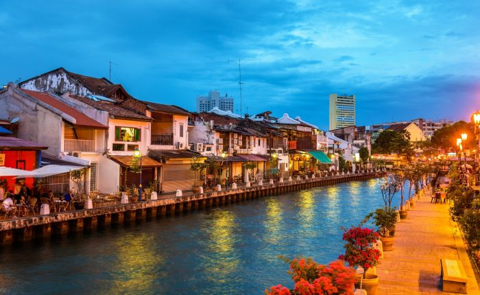 Night scenery of Malacca riverside