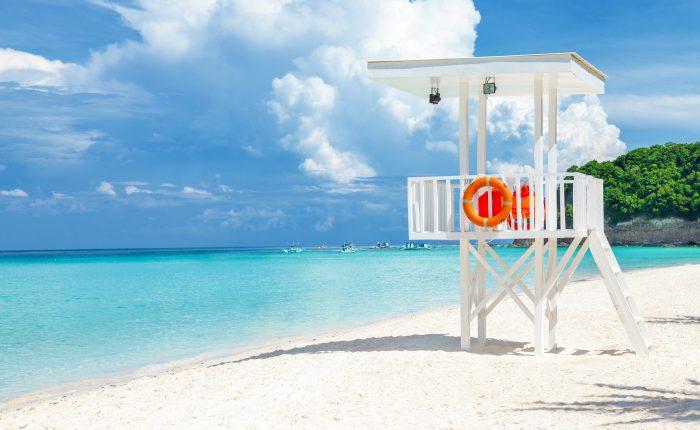 Pristine blue water and powdery white sand beach in Boracay Island