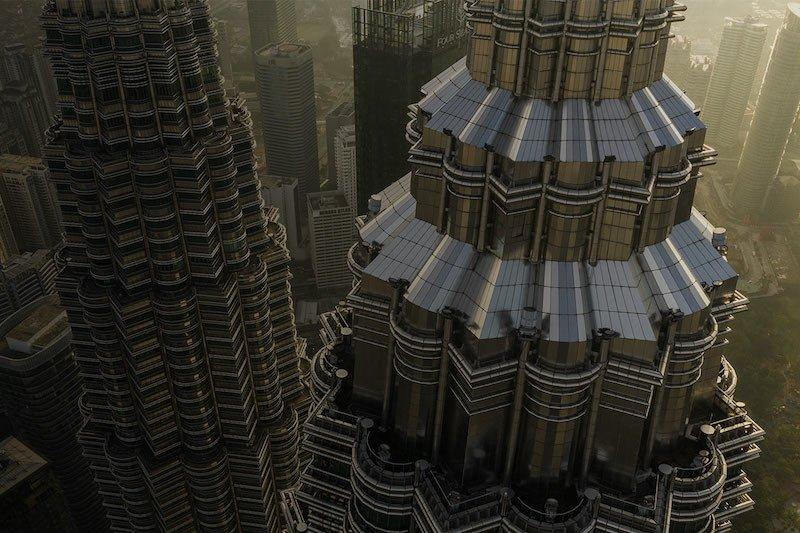 Aerial view of Kuala Lumpur's Petronas Twin Towers
